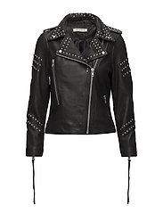 Jacket w studs and back print - BLACK