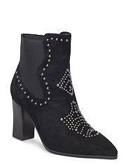 boot studs suede - BLACK