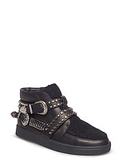 boot loafer fur and leather - BLACK