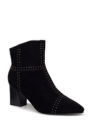 boot suede w. studs - BLACK