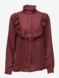 Shirt - long sleeved blouses - dark burgundy