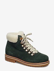 Boot Nubuck Lace - flat ankle boots - dark green