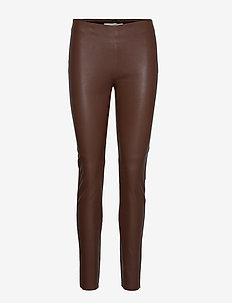 Pants - leather trousers - dark brown