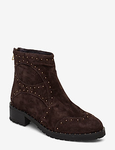 Boot - flat ankle boots - dark brown