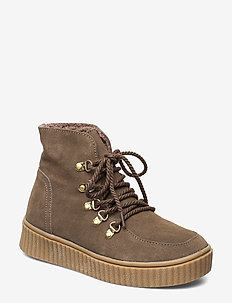 Boot - flat ankle boots - l brown