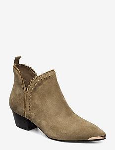 Boot, rivet gold - talon haut - green