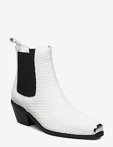 Boot - ankelstøvler med hæl - white