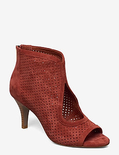 Shoe - ankle boots with heel - cherry red
