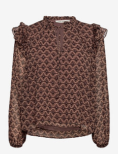 Blouse - long sleeved blouses - rosy camel