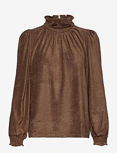 Blouse - long sleeved blouses - brown
