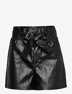 Shorts - leather shorts - black