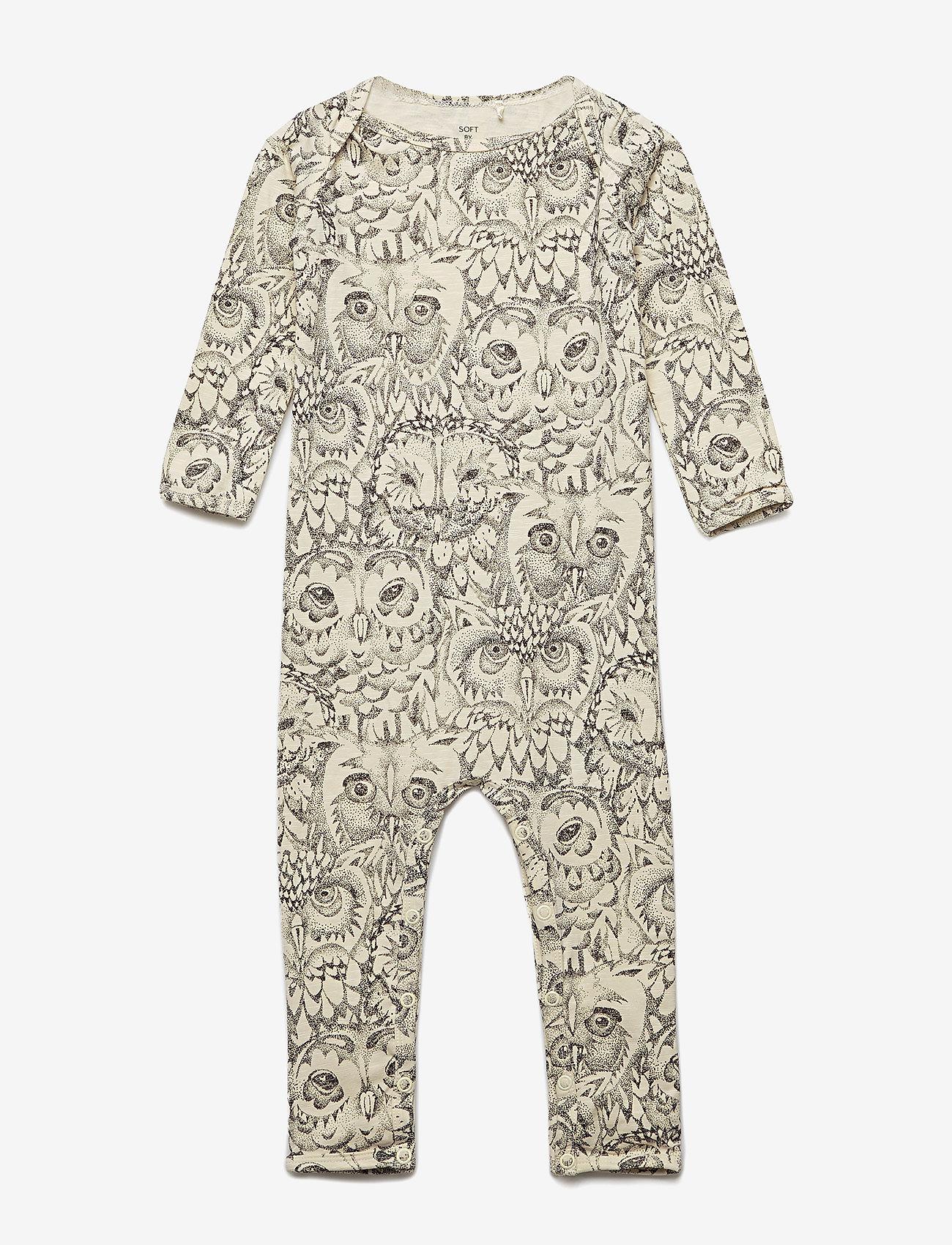 Soft Gallery - Ben Bodysuit - langärmelig - cream, aop owl - 0