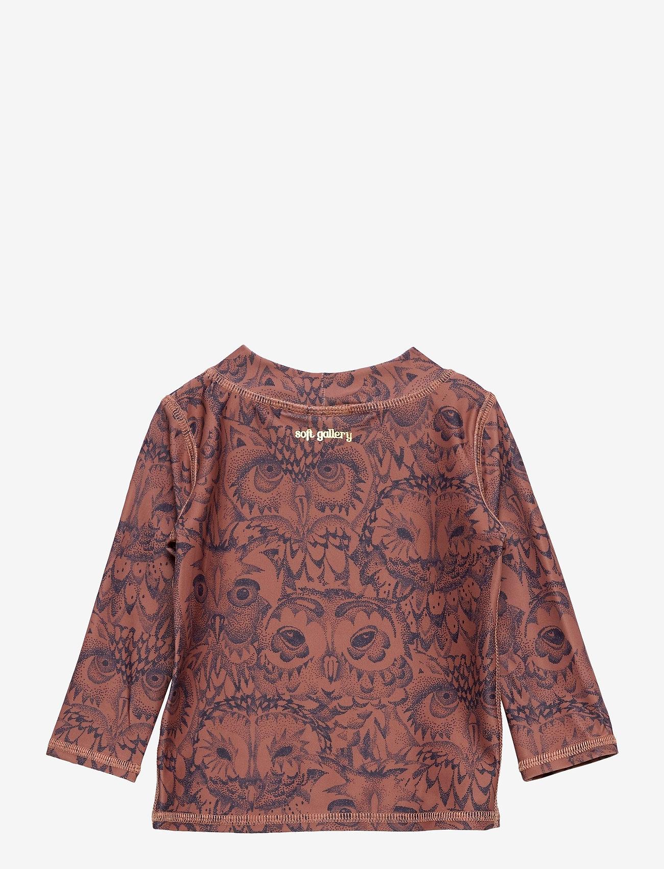 Soft Gallery - Baby Astin Sun Shirt - koszulki - burlwood, aop owl - 1