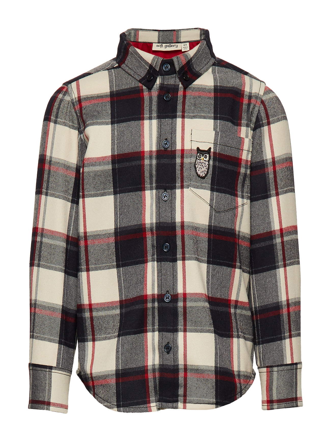 Soft Gallery Bentley Shirt - RBW CHECK, OWL PATCH GREY