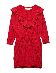 Bea Dress - MARS RED, AOP MINI DOTS