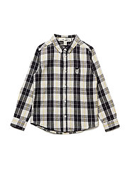 Bentley Shirt - BLK/YELLOW CHECK, OWL PATCH GREY
