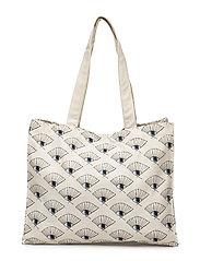 Canvas Shoulder Bag - NATUREL, AOP EYEFAN