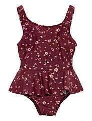 Glory Swimsuit - OXBLOOD RED, AOP FLOWERY S