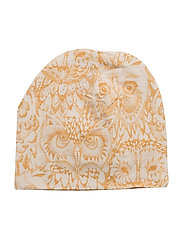 Beanie - CREAM, AOP OWL GOLDEN GLOW