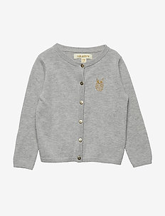 Carrie Cardigan - GREY MELANGE, MINI OWL EMB