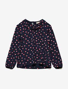 Tulip Top - blouses & tunics - navy blazer, aop heartfly