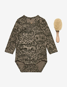 Limited baby pack - Body & Baby hair brush - langærmede - vetiver, aop owl vetiver