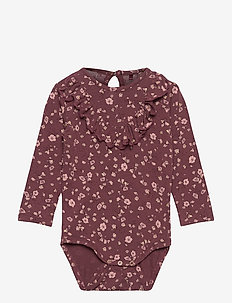 Annie Body - langærmede - oxblood red, aop flowery s