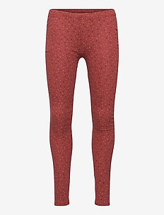 Paula Leggings - leggings - barn red, aop trio dotties
