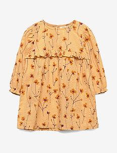 Evona Dress - golden apricot, aop buttercup