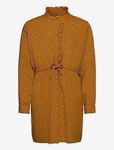 Electa Dress - jurken - inca gold, aop trio dotties