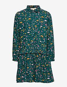 Elisabelle Dress - DEEP TEAL, AOP FUNGI