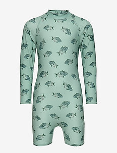 Fitz Sunsuit - uv suits - jadeite, aop spotfish