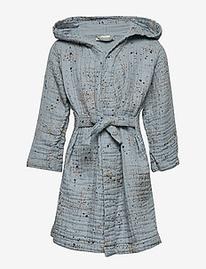 Robe - bathrobes - ocean grey, aop mini splash blue
