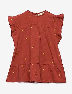 Fianna Dress - cinnabar, aop dotty emb