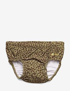 Miki Swim Pants - OIL GREEN, AOP LEOSPOT
