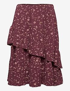 Fine Skirt - röcke - oxblood red, aop flowery s