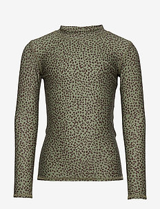 Astin Sun Shirt - uv tops - oil green, aop leospot