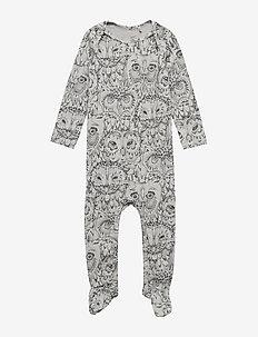 Nat Bodysuit - long-sleeved - drizzle, aop owl