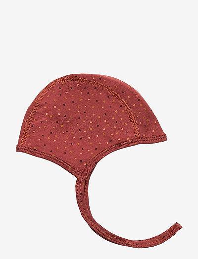 Hattie - hatte og handsker - barn red, aop trio dotties