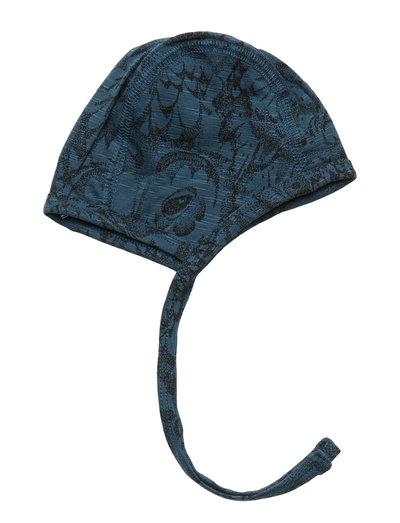 Hattie - hatte og handsker - orion blue, aop owl