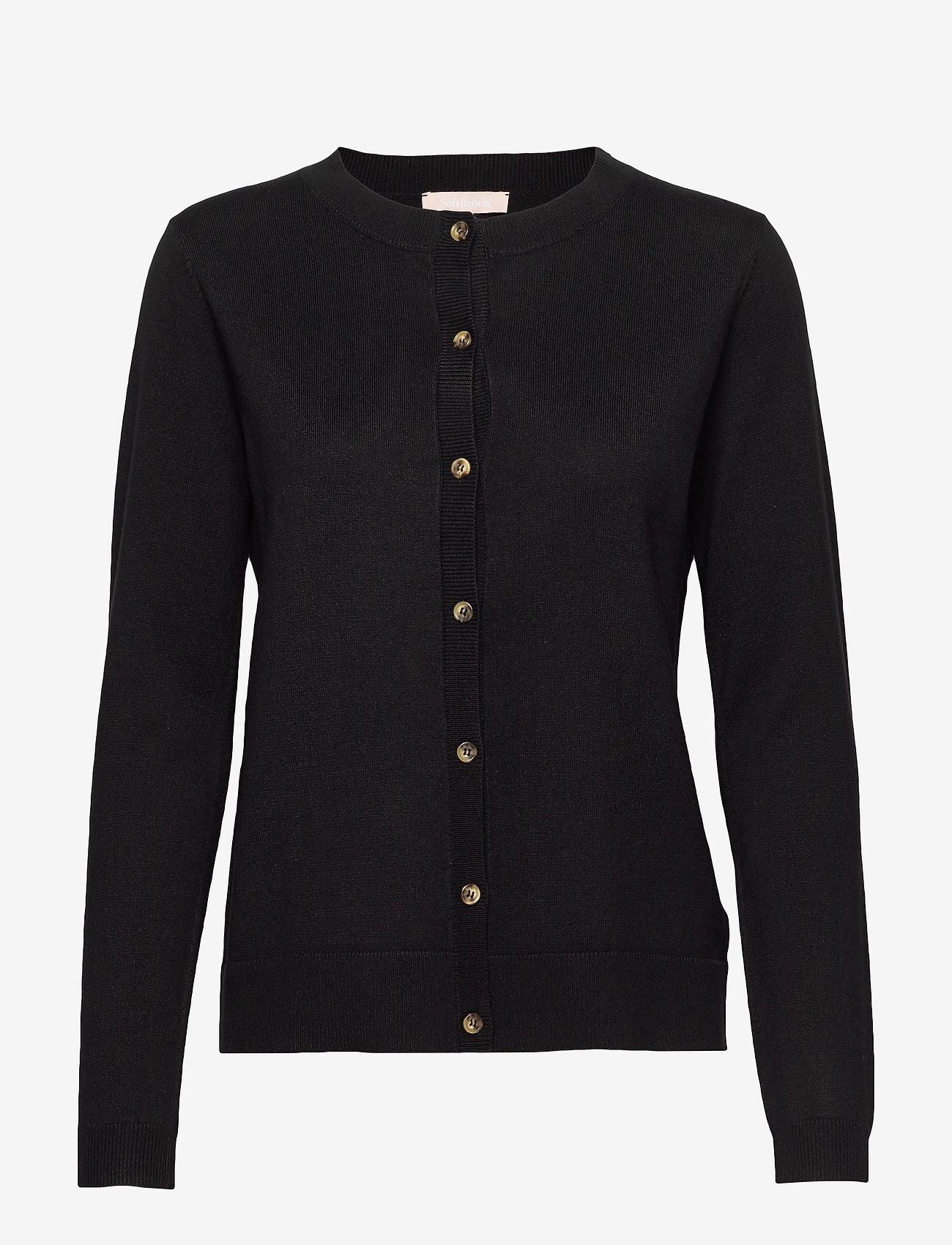 Soft Rebels - SRMarla New O-neck Cardigan - cardigans - black - 1