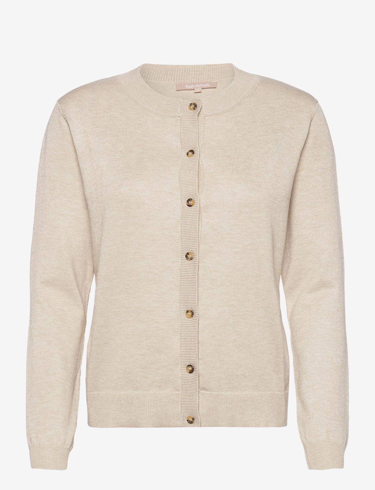 Soft Rebels - SRMarla New O-neck Cardigan - cardigans - whitecap gray - 1
