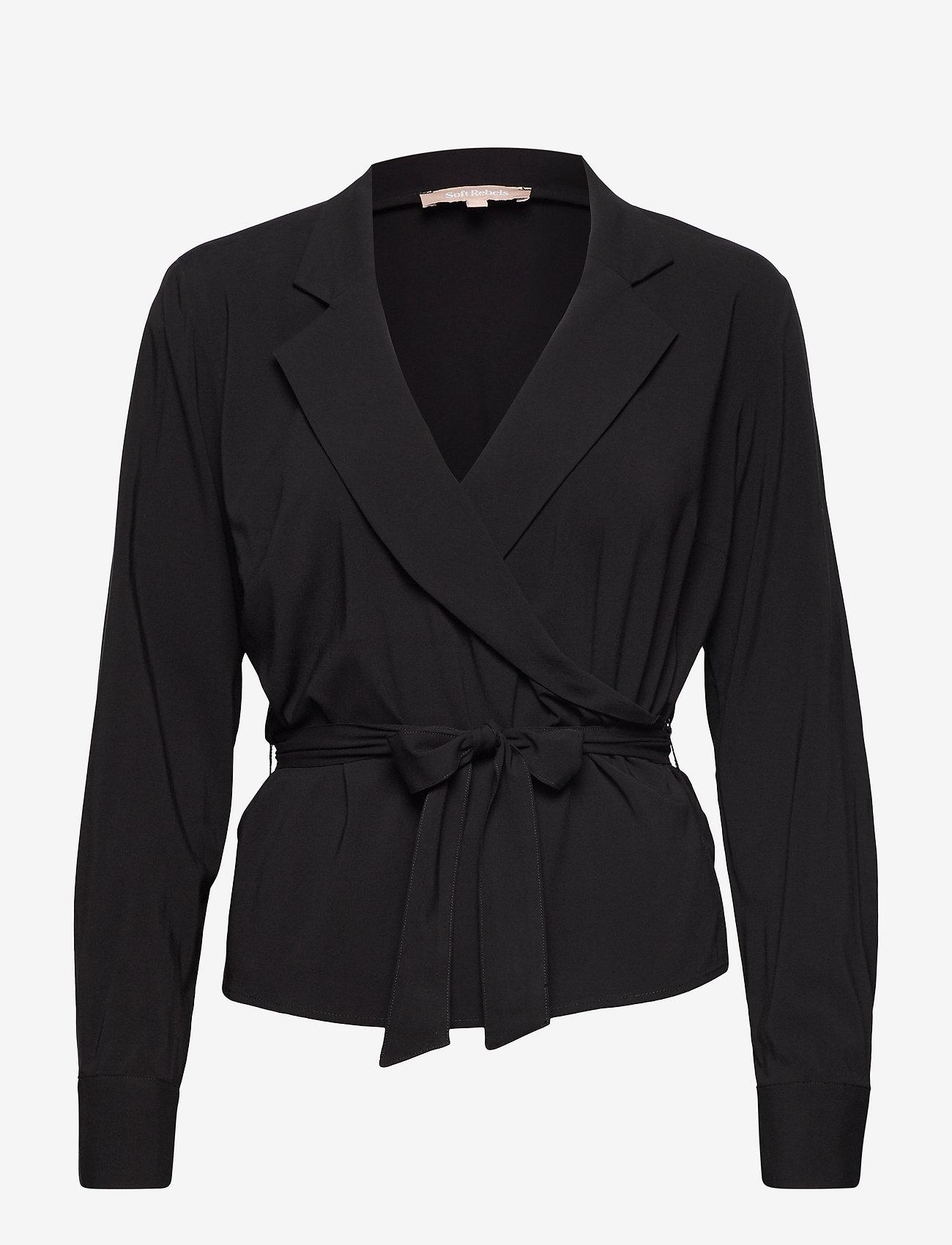 Soft Rebels - Stripie LS Wrap Top - long sleeved blouses - black - 0