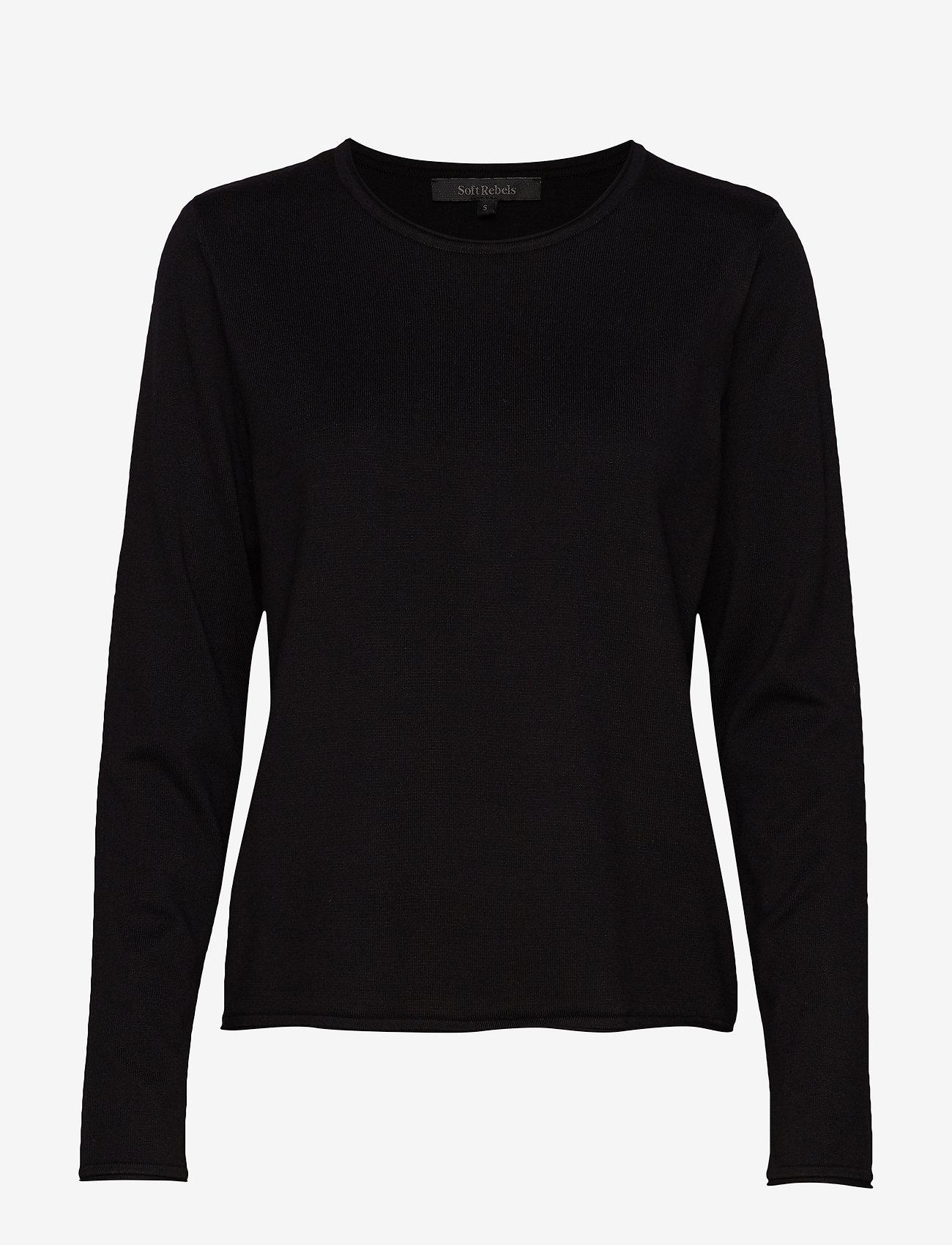 Soft Rebels - Zara O-neck Knit Roll Edge - trøjer - black - 1