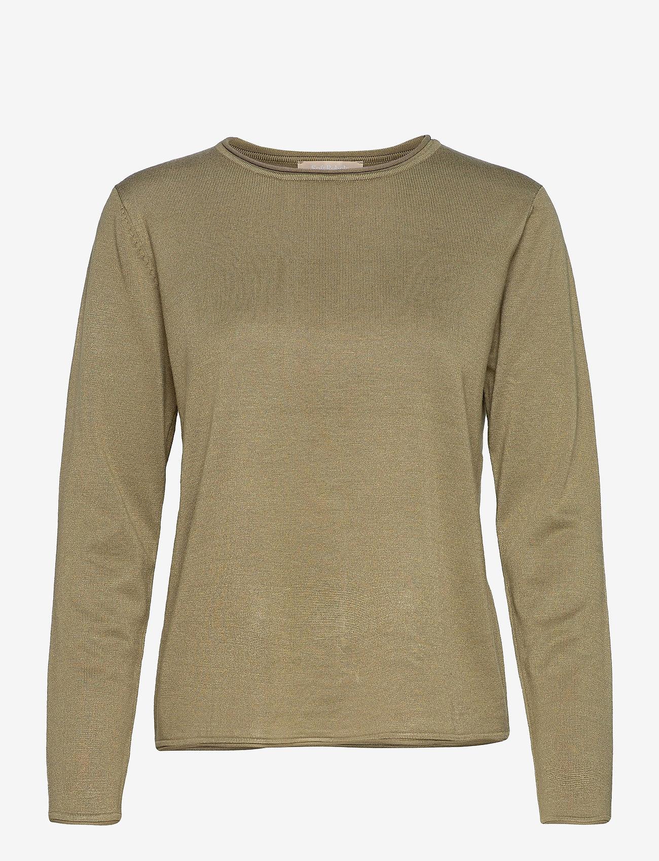 Soft Rebels - SRMarla O-neck Knit Roll Edge - sweaters - covert green - 0