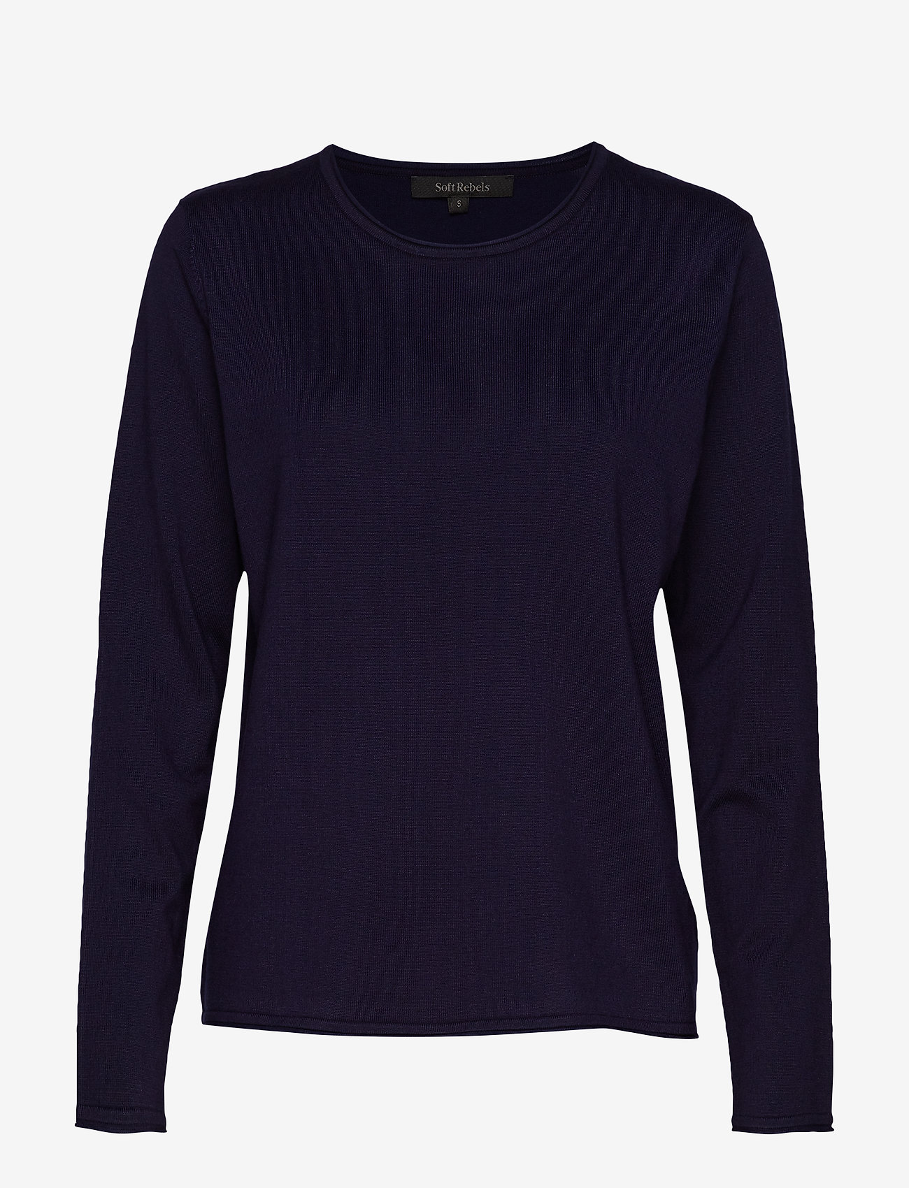 Soft Rebels - Zara O-neck Knit Roll Edge - jumpers - total eclipse - 0