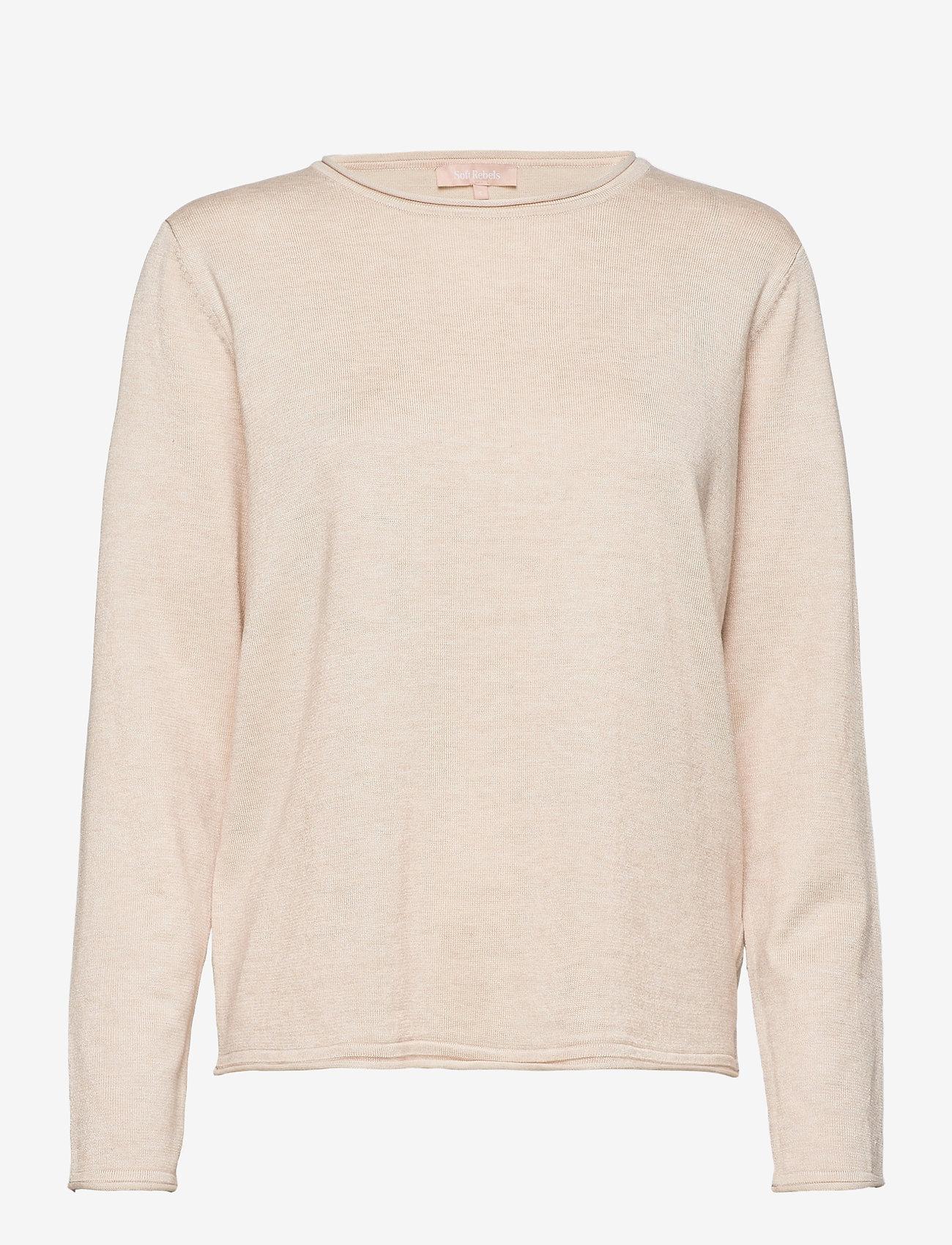 Soft Rebels - SRMarla O-Neck Roll Edge - sweaters - whitecap gray - 1