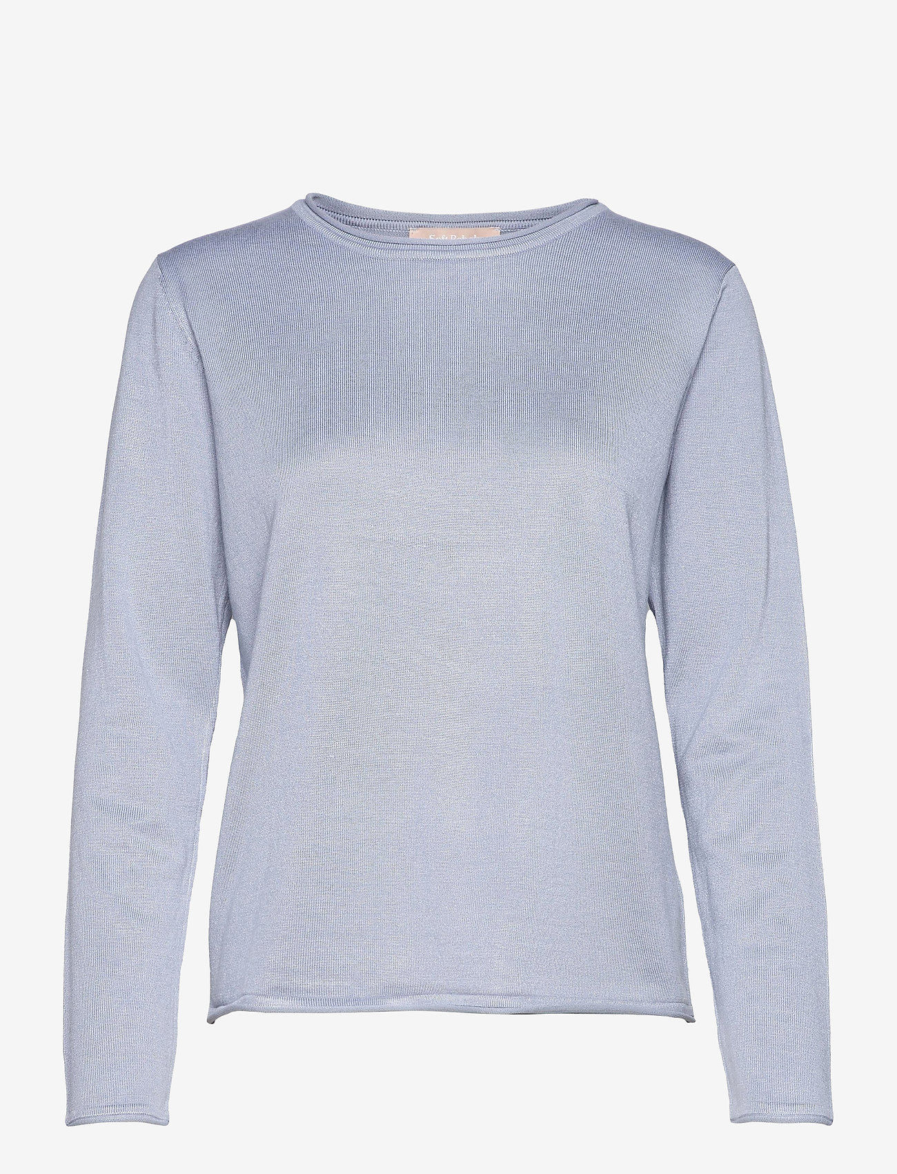 Soft Rebels - SRMarla O-neck Knit Roll Edge - sweaters - zen blue - 0