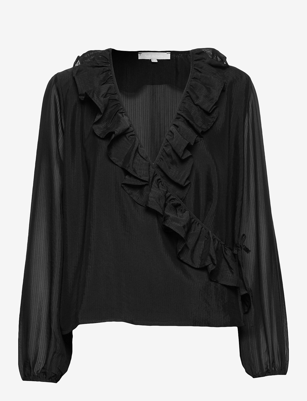 Soft Rebels - Ava LS Top - long sleeved blouses - black - 0