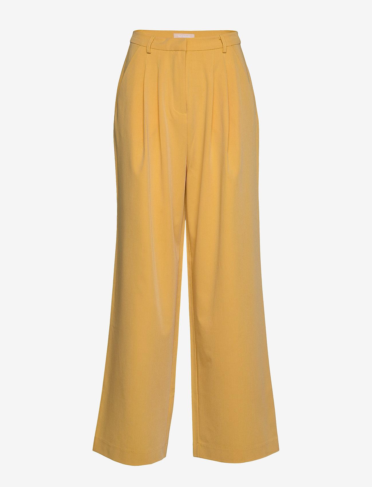 Soft Rebels - Jamie HW Pleat Pant - uitlopende broeken - ochre - 0